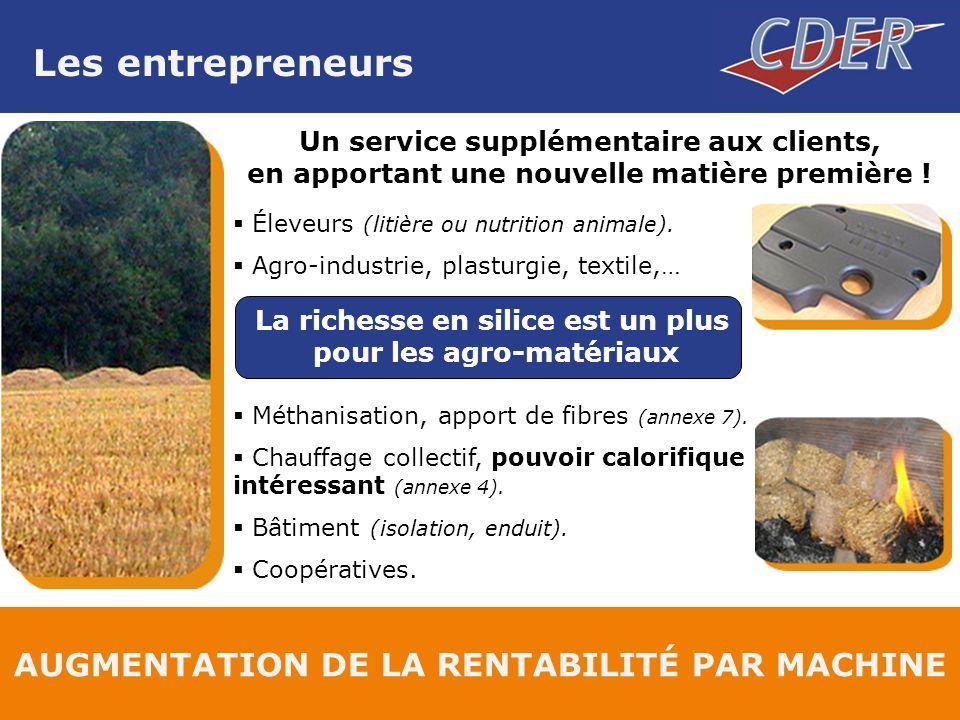 Les entrepreneurs AUGMENTATION DE LA RENTABILITÉ PAR MACHINE Un service supplémentaire aux clients, en apportant une nouvelle matière première .