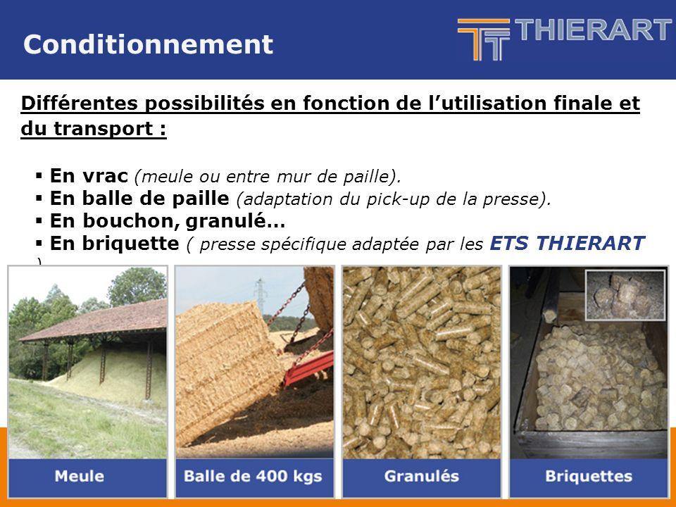 Conditionnement Différentes possibilités en fonction de lutilisation finale et du transport : En vrac (meule ou entre mur de paille).