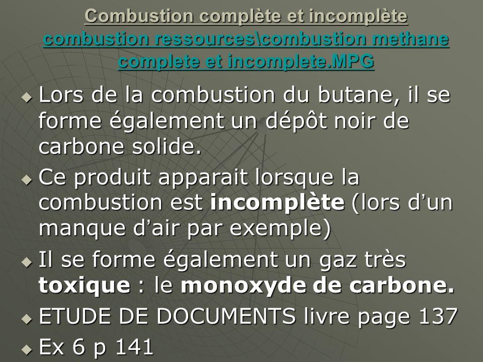 Lors de la combustion du butane, il se forme également un dépôt noir de carbone solide.