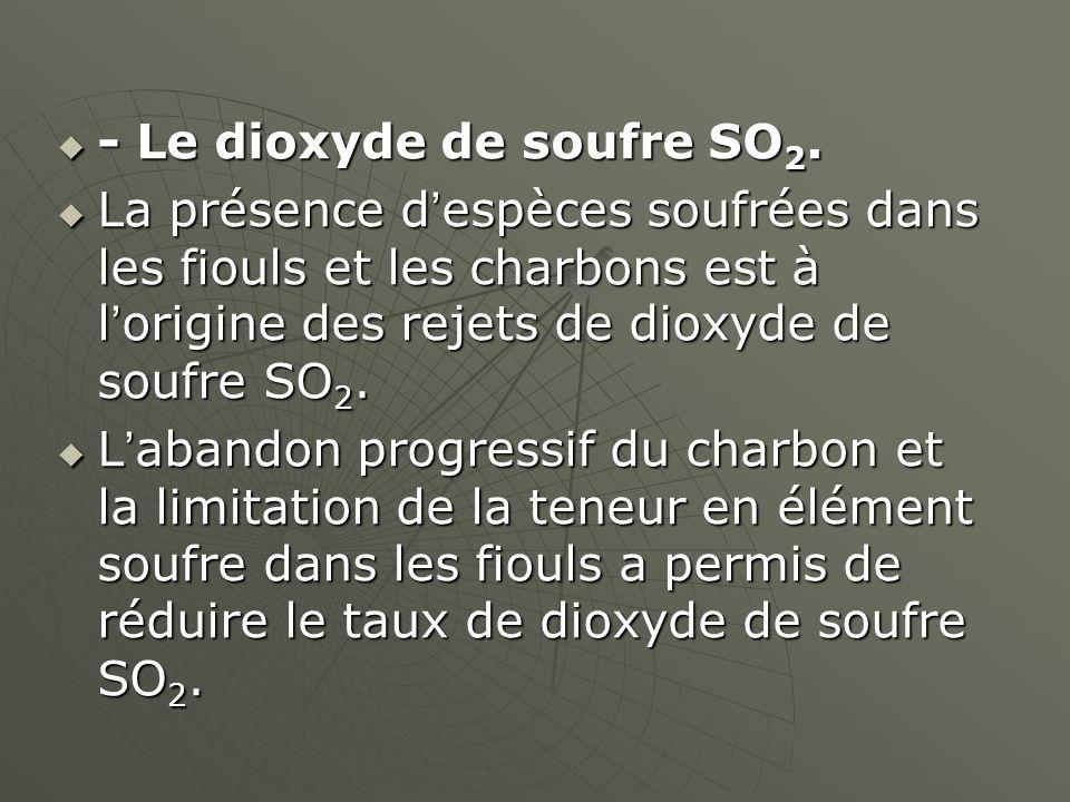 - Le dioxyde de soufre SO 2. - Le dioxyde de soufre SO 2. La présence despèces soufrées dans les fiouls et les charbons est à lorigine des rejets de d