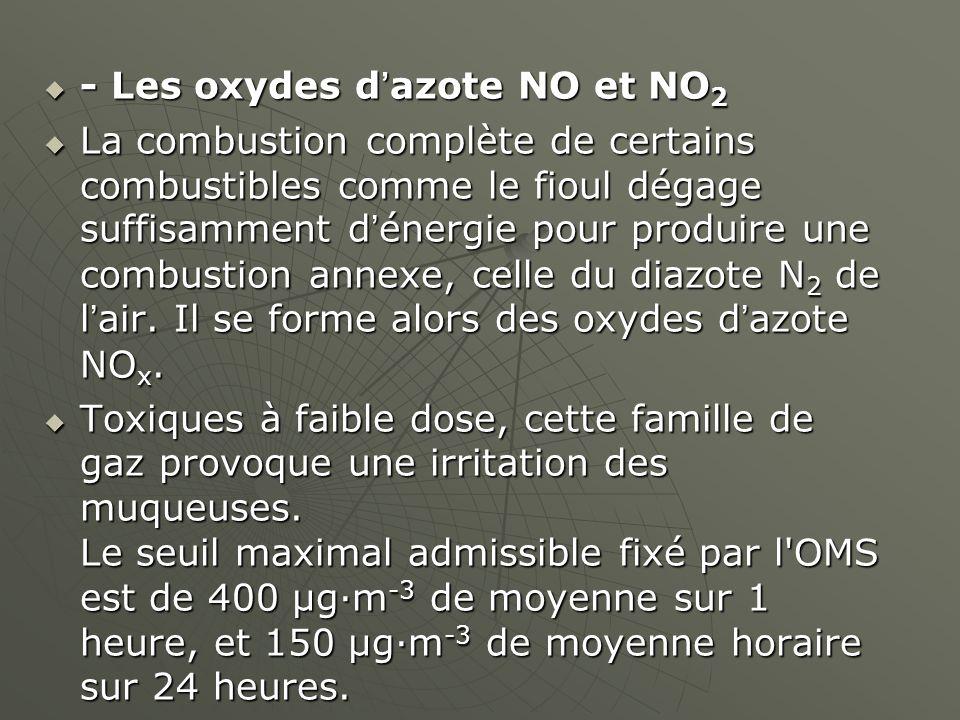 - Les oxydes dazote NO et NO 2 - Les oxydes dazote NO et NO 2 La combustion complète de certains combustibles comme le fioul dégage suffisamment dénergie pour produire une combustion annexe, celle du diazote N 2 de lair.
