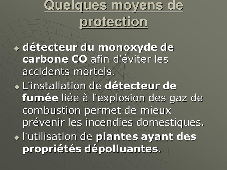Quelques moyens de protection détecteur du monoxyde de carbone CO afin déviter les accidents mortels.