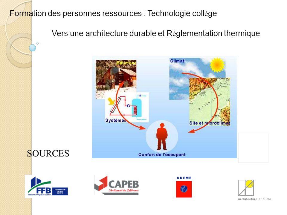 SOURCES Formation des personnes ressources : Technologie coll è ge Vers une architecture durable et R é glementation thermique