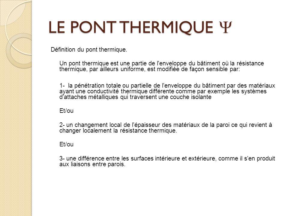 LE PONT THERMIQUE LE PONT THERMIQUE Définition du pont thermique.