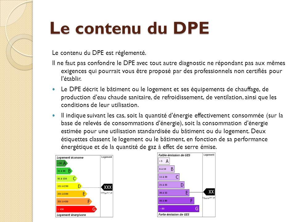 Le contenu du DPE Le contenu du DPE est réglementé.