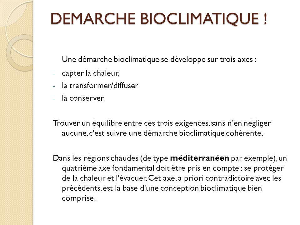 DEMARCHE BIOCLIMATIQUE .