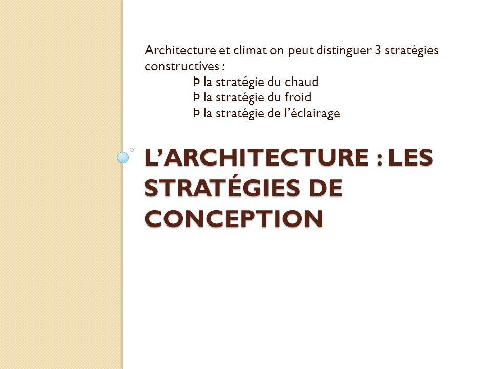 LARCHITECTURE : LES STRATÉGIES DE CONCEPTION Architecture et climat on peut distinguer 3 stratégies constructives : Þ la stratégie du chaud Þ la stratégie du froid Þ la stratégie de léclairage