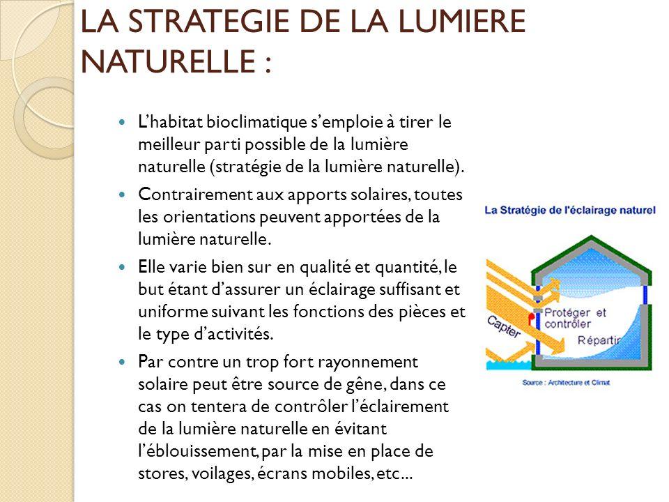 LA STRATEGIE DE LA LUMIERE NATURELLE : Lhabitat bioclimatique semploie à tirer le meilleur parti possible de la lumière naturelle (stratégie de la lumière naturelle).