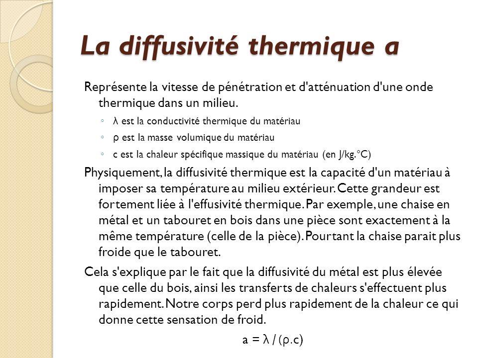 La diffusivité thermique a Représente la vitesse de pénétration et d atténuation d une onde thermique dans un milieu.
