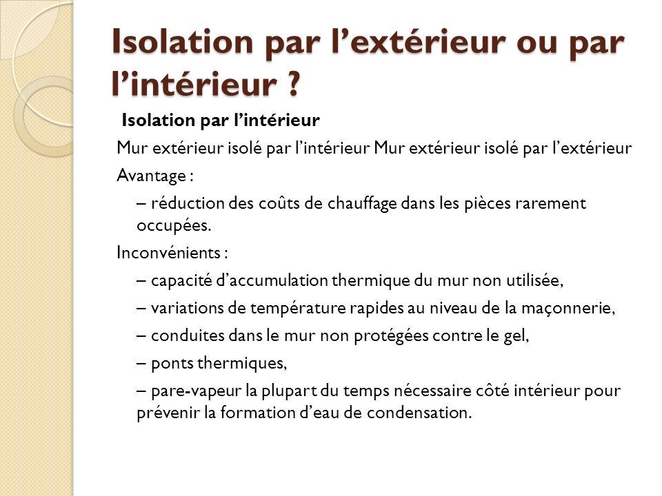 Isolation par lextérieur ou par lintérieur .