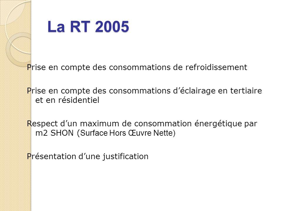 La RT 2005 Prise en compte des consommations de refroidissement Prise en compte des consommations déclairage en tertiaire et en résidentiel Respect dun maximum de consommation énergétique par m2 SHON ( Surface Hors Œuvre Nette) Présentation dune justification