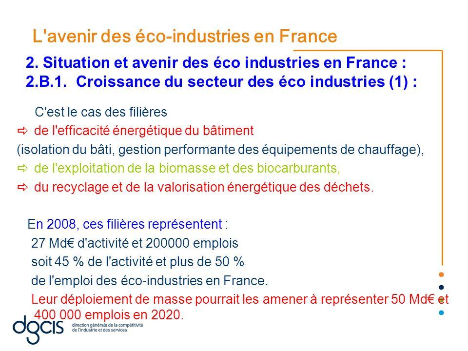 L'avenir des éco-industries en France C'est le cas des filières de l'efficacité énergétique du bâtiment (isolation du bâti, gestion performante des éq