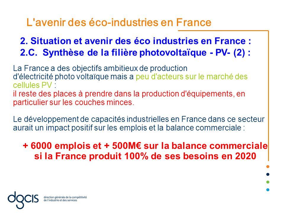 L'avenir des éco-industries en France La France a des objectifs ambitieux de production d'électricité photo voltaïque mais a peu d'acteurs sur le marc