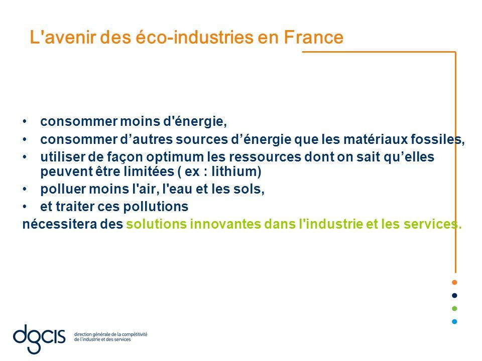 L'avenir des éco-industries en France consommer moins d'énergie, consommer dautres sources dénergie que les matériaux fossiles, utiliser de façon opti