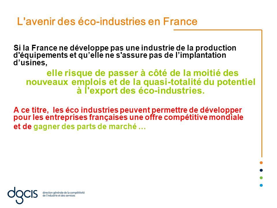 L'avenir des éco-industries en France Si la France ne développe pas une industrie de la production d'équipements et quelle ne s'assure pas de limplant