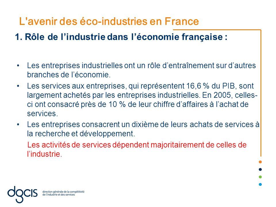 L'avenir des éco-industries en France Les entreprises industrielles ont un rôle dentraînement sur dautres branches de léconomie. Les services aux entr