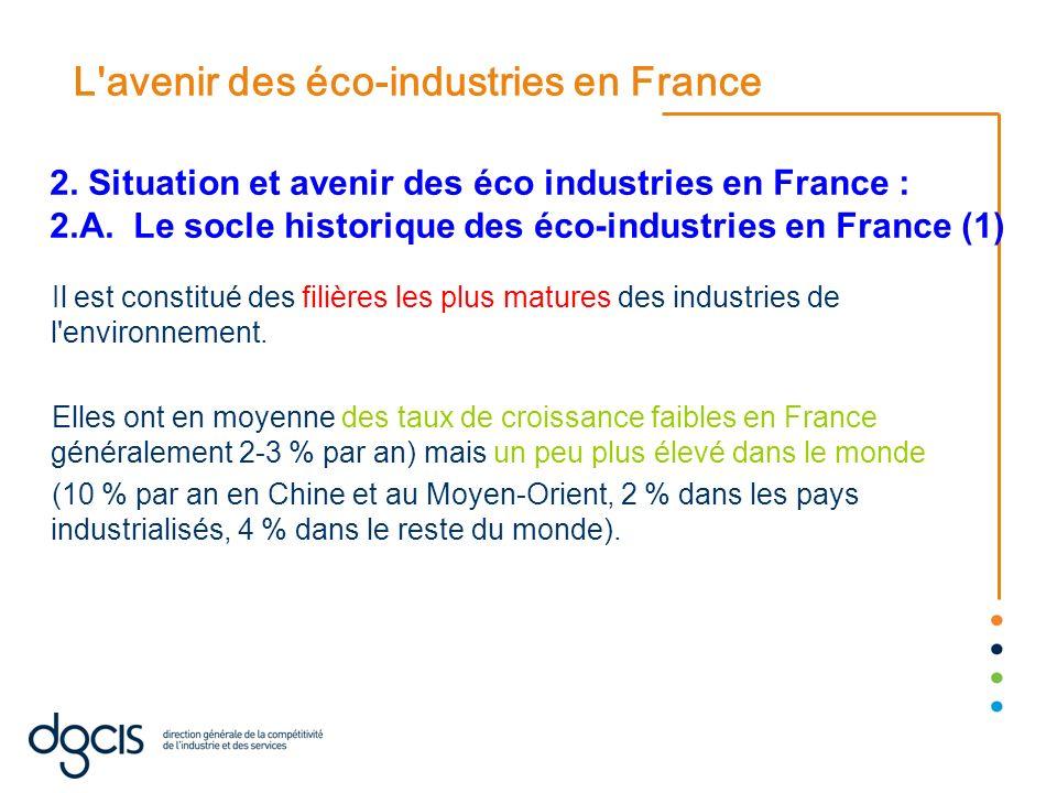 L'avenir des éco-industries en France Il est constitué des filières les plus matures des industries de l'environnement. Elles ont en moyenne des taux