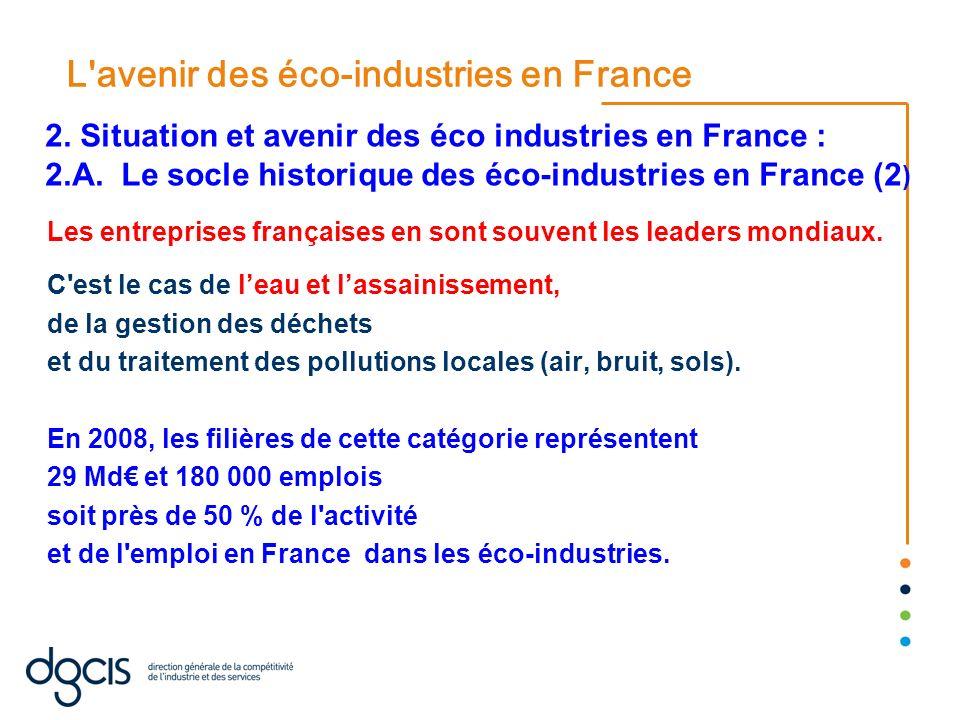 L'avenir des éco-industries en France Les entreprises françaises en sont souvent les leaders mondiaux. C'est le cas de leau et lassainissement, de la
