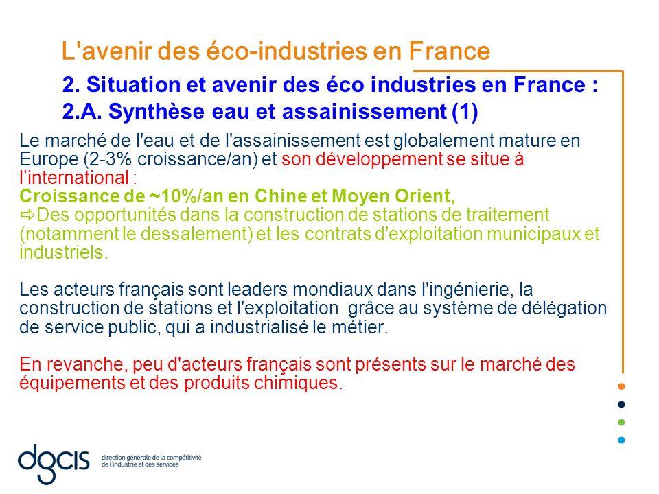 L'avenir des éco-industries en France Le marché de l'eau et de l'assainissement est globalement mature en Europe (2-3% croissance/an) et son développe