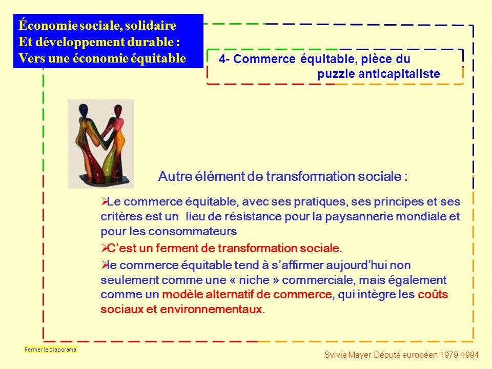 Fermer le diaporama Le commerce équitable, avec ses pratiques, ses principes et ses critères est un lieu de résistance pour la paysannerie mondiale et pour les consommateurs Cest un ferment de transformation sociale.