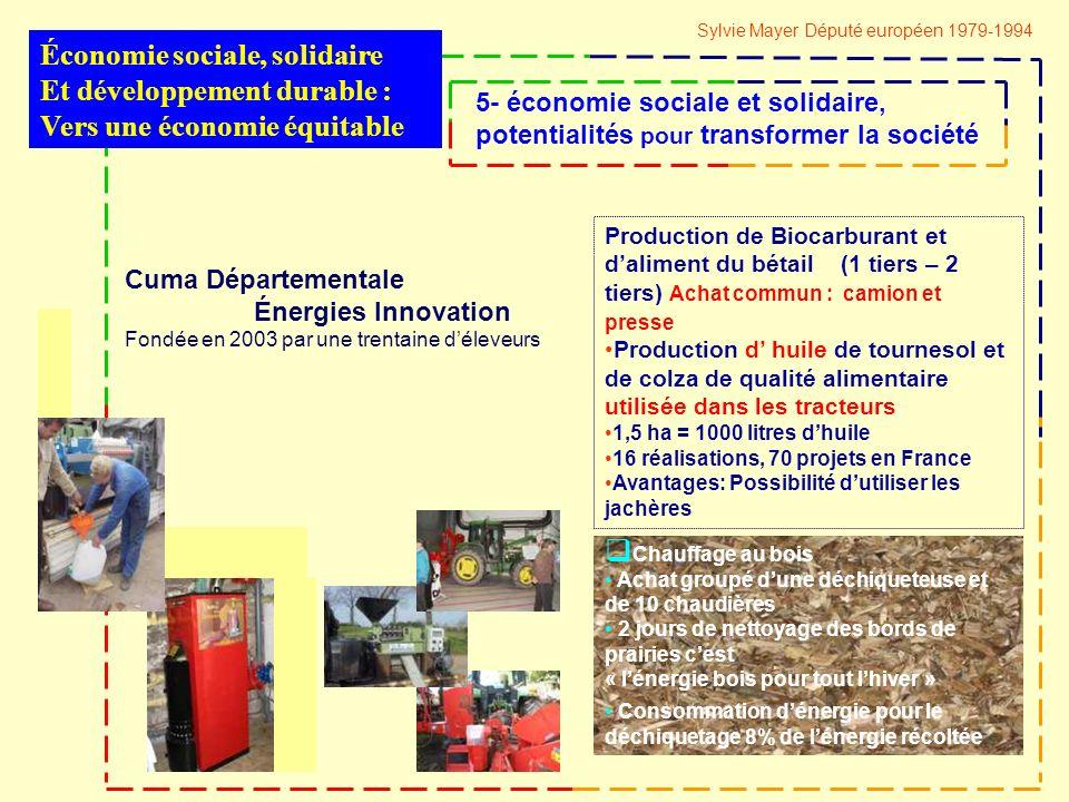 Cuma Départementale Énergies Innovation Fondée en 2003 par une trentaine déleveurs Chauffage au bois Achat groupé dune déchiqueteuse et de 10 chaudières 2 jours de nettoyage des bords de prairies cest « lénergie bois pour tout lhiver » Consommation dénergie pour le déchiquetage 8% de lénergie récoltée Production de Biocarburant et daliment du bétail (1 tiers – 2 tiers) Achat commun : camion et presse Production d huile de tournesol et de colza de qualité alimentaire utilisée dans les tracteurs 1,5 ha = 1000 litres dhuile 16 réalisations, 70 projets en France Avantages: Possibilité dutiliser les jachères Économie sociale, solidaire Et développement durable : Vers une économie équitable 5- économie sociale et solidaire, potentialités pour transformer la société Sylvie Mayer Député européen 1979-1994