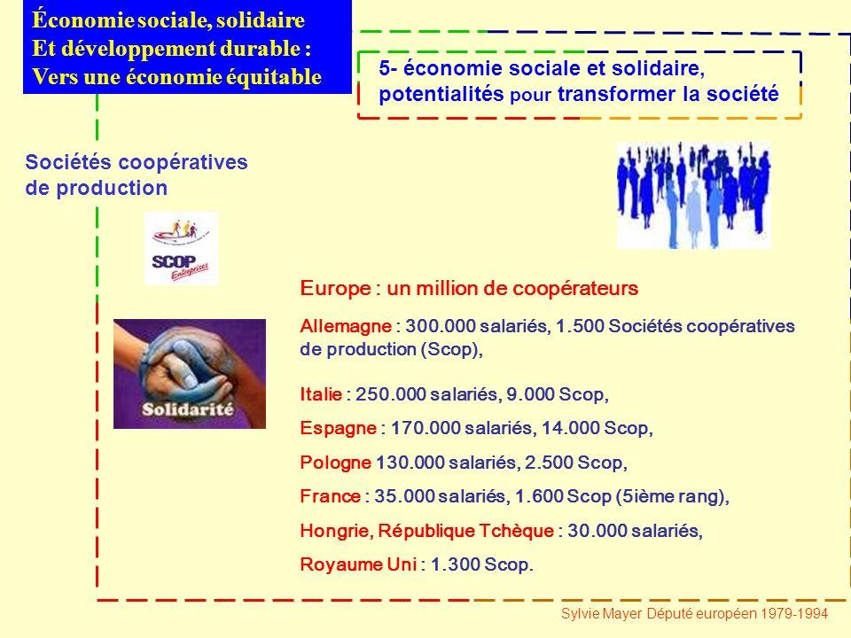 Sociétés coopératives de production Europe : un million de coopérateurs Allemagne : 300.000 salariés, 1.500 Sociétés coopératives de production (Scop), Italie : 250.000 salariés, 9.000 Scop, Espagne : 170.000 salariés, 14.000 Scop, Pologne 130.000 salariés, 2.500 Scop, France : 35.000 salariés, 1.600 Scop (5ième rang), Hongrie, République Tchèque : 30.000 salariés, Royaume Uni : 1.300 Scop.