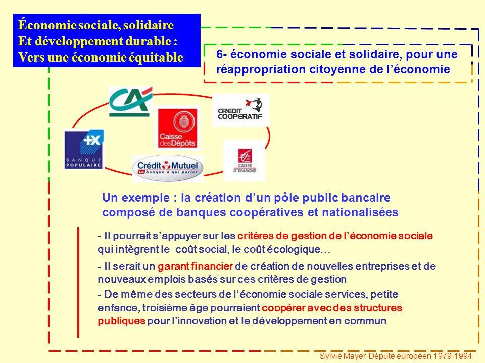 - Il pourrait sappuyer sur les critères de gestion de léconomie sociale qui intègrent le coût social, le coût écologique… Économie sociale, solidaire Et développement durable : Vers une économie équitable 6- économie sociale et solidaire, pour une réappropriation citoyenne de léconomie Sylvie Mayer Député européen 1979-1994 Un exemple : la création dun pôle public bancaire composé de banques coopératives et nationalisées - Il serait un garant financier de création de nouvelles entreprises et de nouveaux emplois basés sur ces critères de gestion - De même des secteurs de léconomie sociale services, petite enfance, troisième âge pourraient coopérer avec des structures publiques pour linnovation et le développement en commun