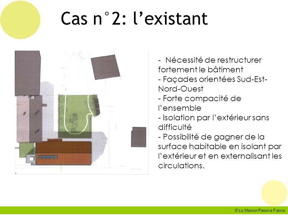 © La Maison Passive France Cas n°2: lexistant - Nécessité de restructurer fortement le bâtiment - Façades orientées Sud-Est- Nord-Ouest - Forte compac