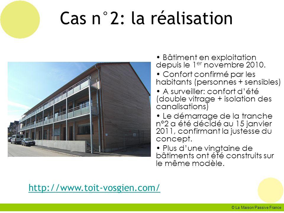 © La Maison Passive France Cas n°2: la réalisation Bâtiment en exploitation depuis le 1 er novembre 2010. Confort confirmé par les habitants (personne