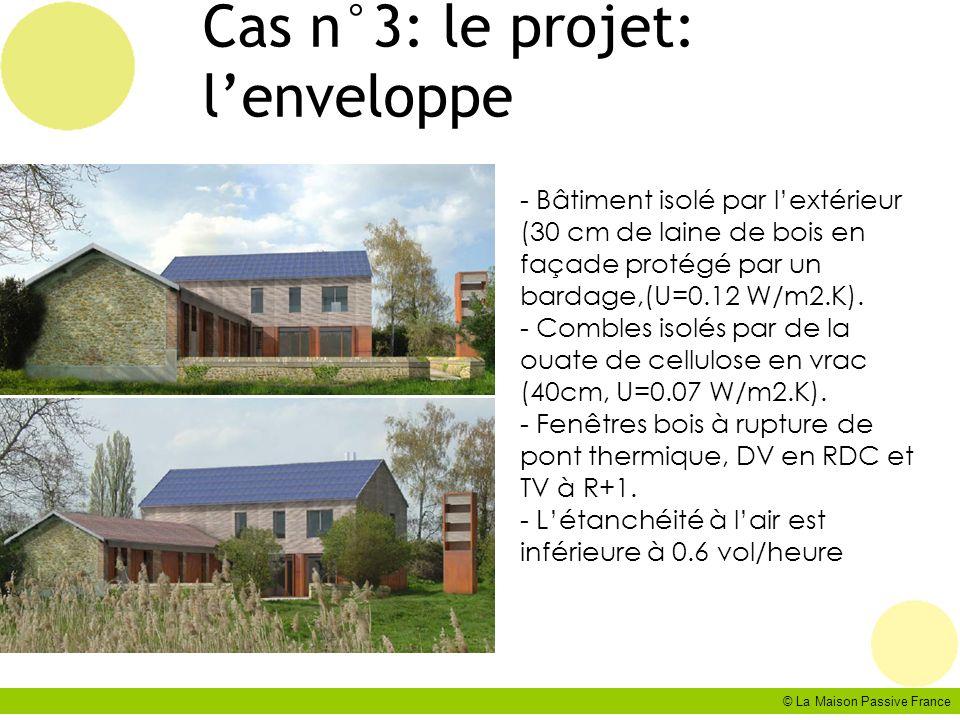 © La Maison Passive France Cas n°3: le projet: lenveloppe - Bâtiment isolé par lextérieur (30 cm de laine de bois en façade protégé par un bardage,(U=