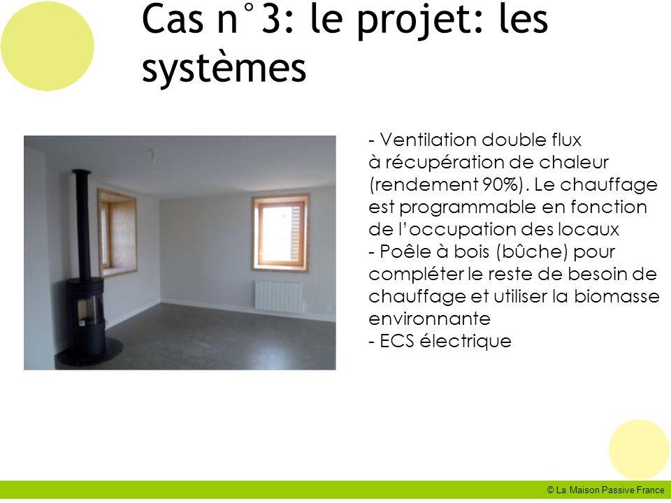 © La Maison Passive France Cas n°3: le projet: les systèmes - Ventilation double flux à récupération de chaleur (rendement 90%). Le chauffage est prog