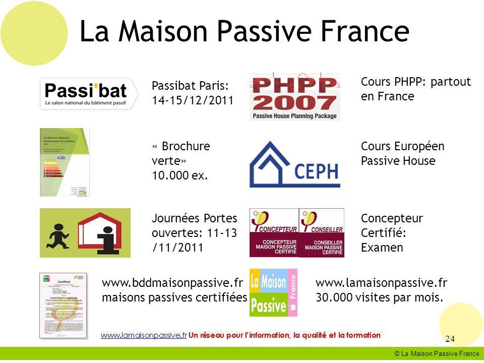 La Maison Passive France © La Maison Passive France 24 Passibat Paris: 14-15/12/2011 « Brochure verte» 10.000 ex. www.bddmaisonpassive.fr maisons pass