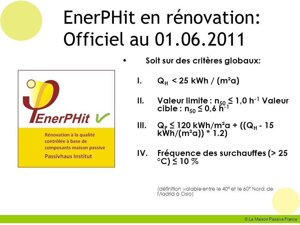 © La Maison Passive France EnerPHit en rénovation: Officiel au 01.06.2011 Soit sur des critères globaux: I.Q H < 25 kWh / (m²a) II.Valeur limite : n 5