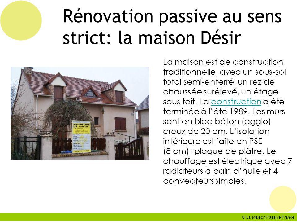 © La Maison Passive France Cas n°2: le projet: les systèmes Solaire thermique 22 m2, couverture besoins 46% Chaudières à pellet 10 kW Ventilation double flux centralisée placées dans les combles, ventilation des logements en faux plafond.