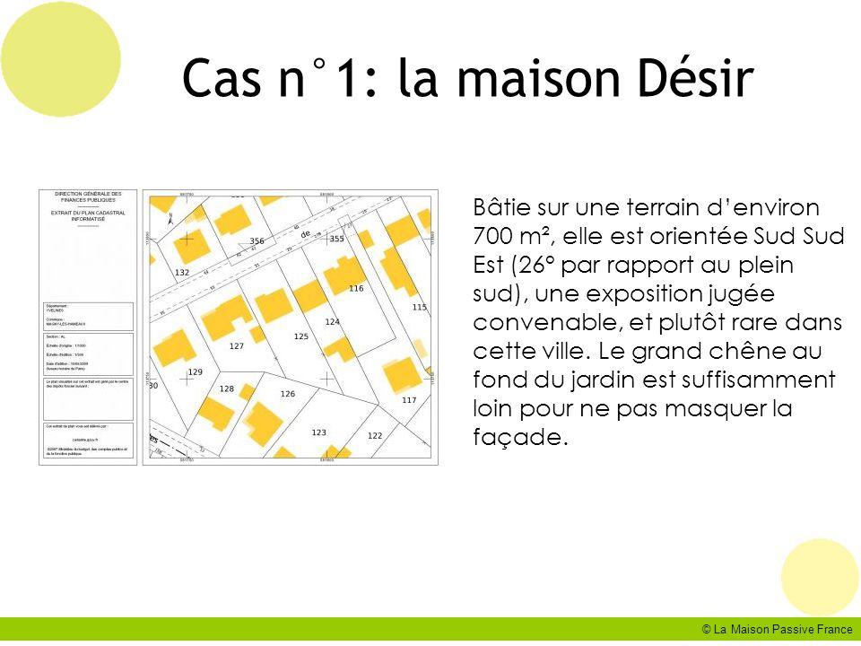 © La Maison Passive France Cas n°1: la maison Désir Bâtie sur une terrain denviron 700 m², elle est orientée Sud Sud Est (26° par rapport au plein sud