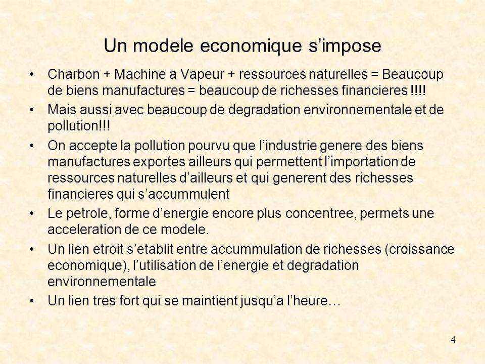 4 Un modele economique simpose Charbon + Machine a Vapeur + ressources naturelles = Beaucoup de biens manufactures = beaucoup de richesses financieres !!!.