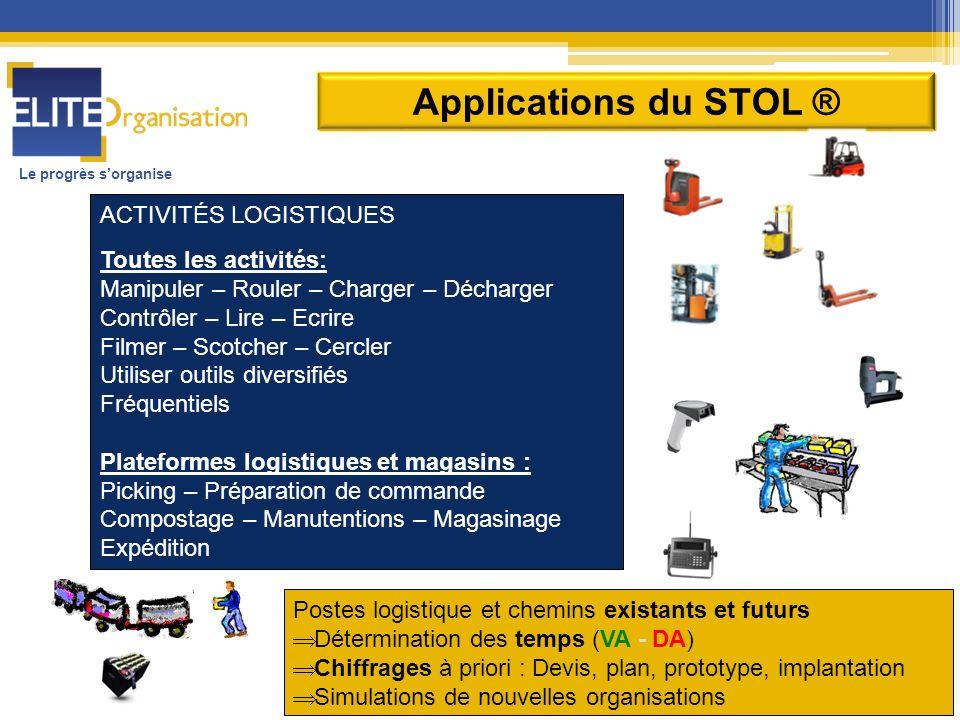 Le progrès sorganise Applications du STOL ® ACTIVITÉS LOGISTIQUES Toutes les activités: Manipuler – Rouler – Charger – Décharger Contrôler – Lire – Ec