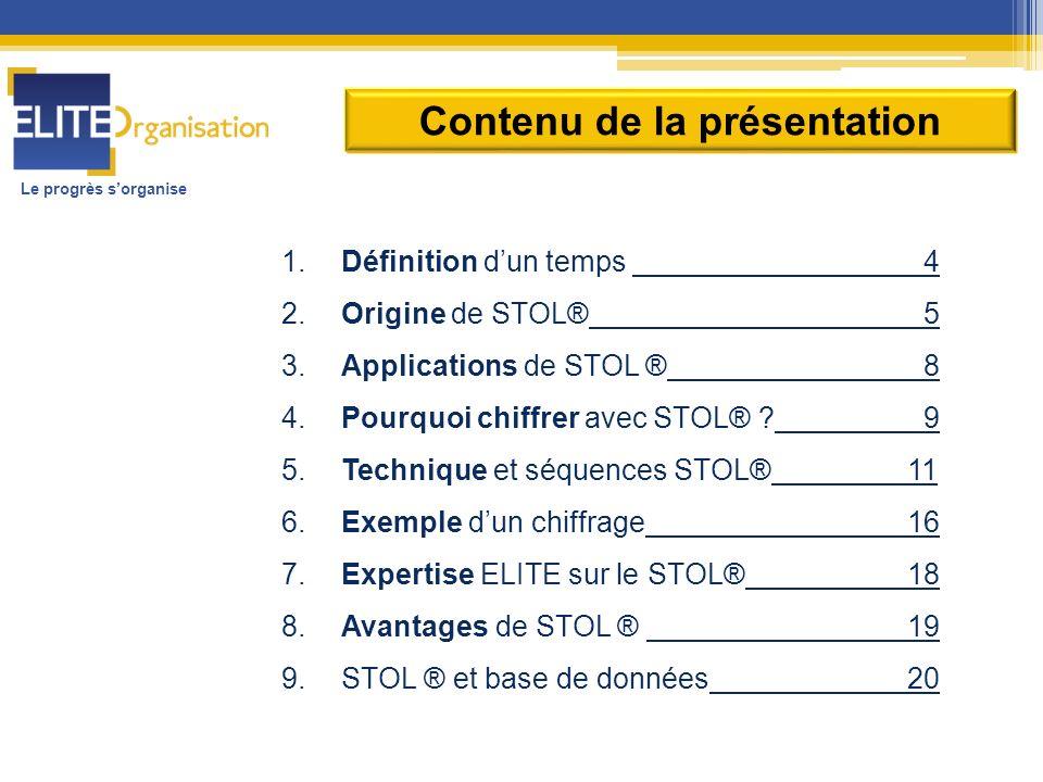 Le progrès sorganise 1. Définition dun temps 4 2. Origine de STOL® 5 3. Applications de STOL ® 8 4. Pourquoi chiffrer avec STOL® ? 9 5. Technique et s