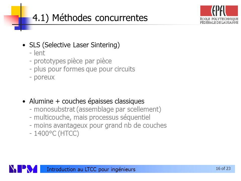 16 of 23 Introduction au LTCC pour ingénieurs 4.1) Méthodes concurrentes SLS (Selective Laser Sintering) - lent - prototypes pièce par pièce - plus pour formes que pour circuits - poreux Alumine + couches épaisses classiques - monosubstrat (assemblage par scellement) - multicouche, mais processus séquentiel - moins avantageux pour grand nb de couches - 1400°C (HTCC)