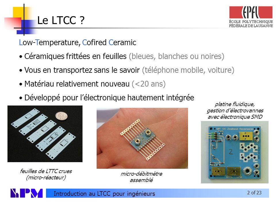 2 of 23 Introduction au LTCC pour ingénieurs Le LTCC .