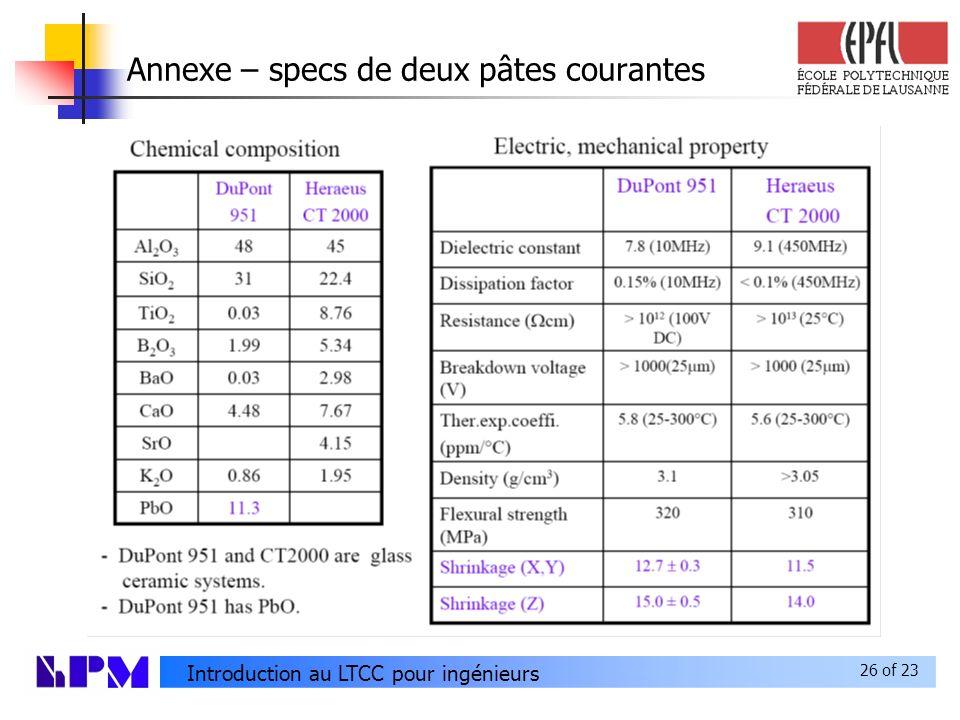 26 of 23 Introduction au LTCC pour ingénieurs Annexe – specs de deux pâtes courantes