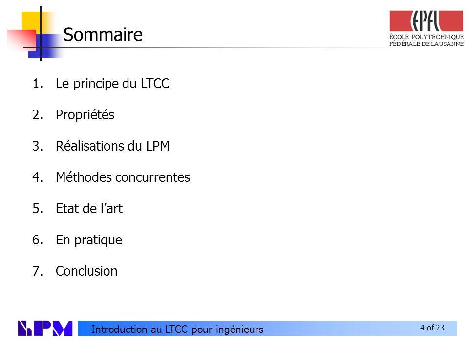 4 of 23 Introduction au LTCC pour ingénieurs Sommaire 1.Le principe du LTCC 2.Propriétés 3.Réalisations du LPM 4.Méthodes concurrentes 5.Etat de lart 6.En pratique 7.Conclusion