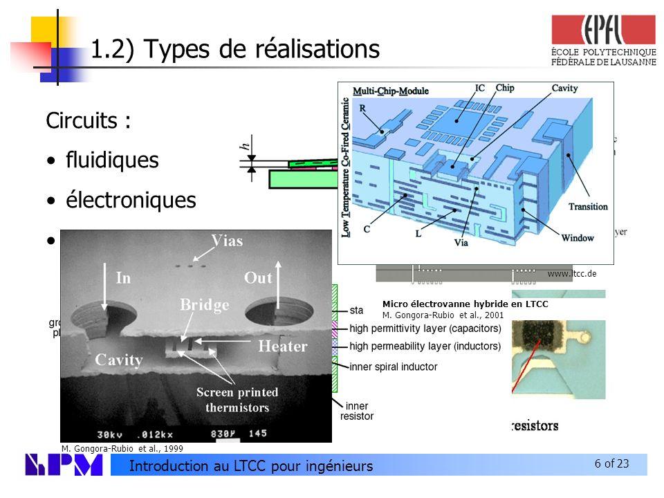 6 of 23 Introduction au LTCC pour ingénieurs 1.2) Types de réalisations Circuits : fluidiques électroniques mécaniques Micro électrovanne hybride en LTCC M.
