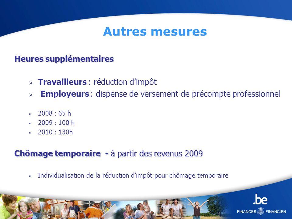 Heures supplémentaires Travailleurs : réduction dimpôt Employeurs : dispense de versement de précompte professionnel 2008 : 65 h 2009 : 100 h 2010 : 1