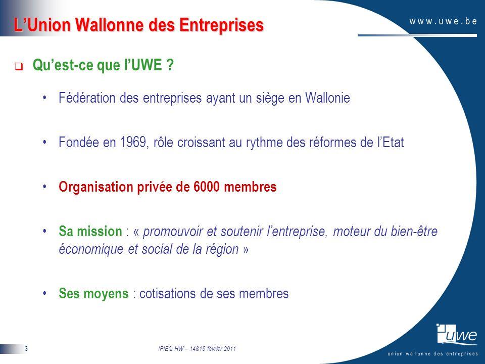 IPIEQ HW – 14&15 février 2011 4 LUnion Wallonne des Entreprises Que fait lUWE .