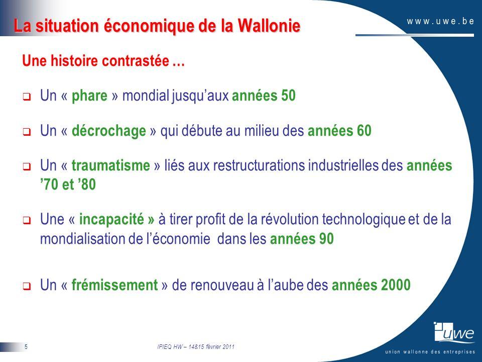 IPIEQ HW – 14&15 février 2011 6 Situation macro-économique de la Wallonie 30 ans de revers économique… … qui se traduisent toujours dans les indicateurs-clés PIB par habitant 83% de la moyenne de lUE 27 contre 116% en Flandre (2007) 75% de la moyenne de lUE 15 contre 104% en Flandre (2007) Taux de chômage 12% de la population active (2010) contre 9,8 % pour zone euro 5,6 % pour la Flandre 17,5% de la population active (juillet 2010) contre 8,1% en Flandre Taux demploi 56,2% de la population en âge de travailler (15-64 ans) (2009) Contre 64,8 % pour lUE 15 65,8% pour la Flandre