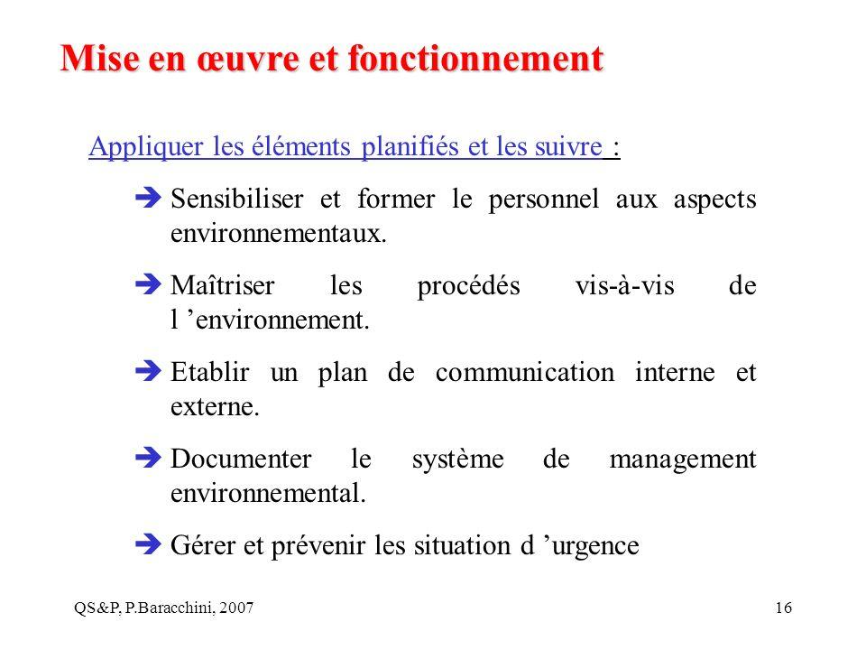 QS&P, P.Baracchini, 200716 Mise en œuvre et fonctionnement Appliquer les éléments planifiés et les suivre : Sensibiliser et former le personnel aux as