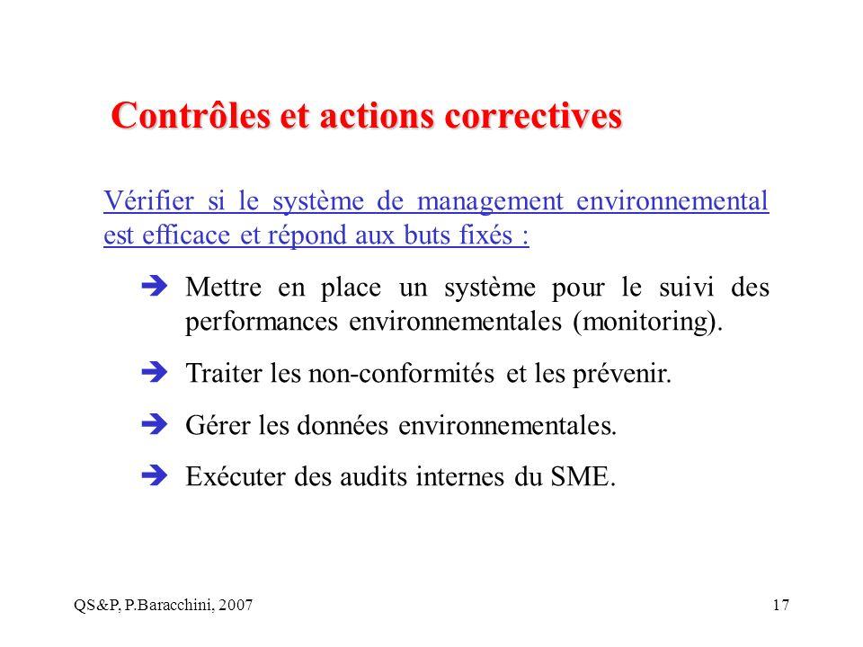 QS&P, P.Baracchini, 200717 Contrôles et actions correctives Vérifier si le système de management environnemental est efficace et répond aux buts fixés