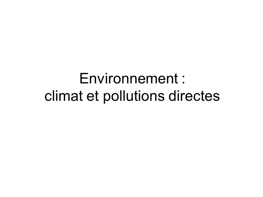 Environnement : climat et pollutions directes