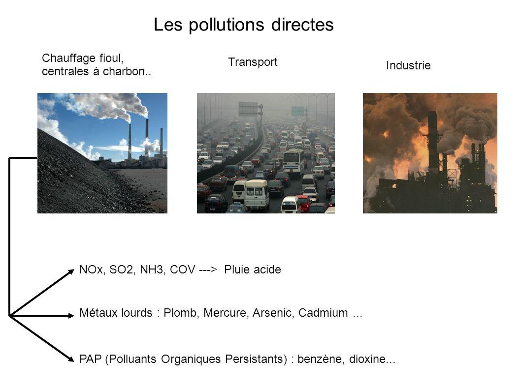 Chauffage fioul, centrales à charbon.. Transport Industrie NOx, SO2, NH3, COV ---> Pluie acide Métaux lourds : Plomb, Mercure, Arsenic, Cadmium... PAP